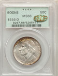 1936-D 50C Boone MS66 PCGS. Gold CAC. PCGS Population: (317/41). NGC Census: (215/14). CDN: $200 Whsle. Bid for problem-...