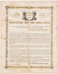 Military & Patriotic:Civil War, George Armstrong Custer: Important April 9,1865 Broadside Bidding Farewell to His Troops.. ...