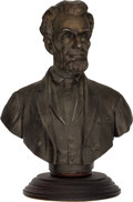 Antiques:Decorative Americana, Abraham Lincoln: Spelter Memorial Bust.. ...