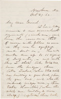 Autographs:Military Figures, [Goldsboro Expedition and Campaign]: John Gray Foster Autograph Letter Signed to General Ambrose Burnside Concerning His Ambit...