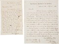 Autographs:Military Figures, Nathaniel P. Banks and John Pope: Two Autograph Letters Signed from Nathaniel P. Banks to General John Pope and One Autograph ...