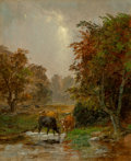 Fine Art - Painting, American, Jasper Francis Cropsey (American, 1823-1900). Cattle by a Stream, 1895. Oil on canvas. 12 x 10 inches (30.5 x 25.4 cm). ...