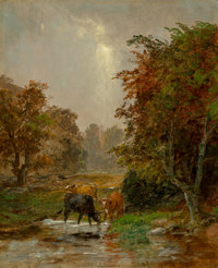 Jasper Francis Cropsey (American, 1823-1900) Cattle by a Stream, 1895 Oil on canvas 12 x 10 inche