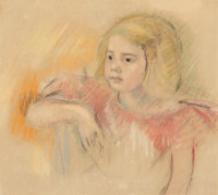 Mary Stevenson Cassatt (American, 1844-1926) Sara in a Red Dress, circa 1901 Pastel on paper 15-3/4 x 17-3/4 inches (