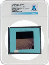 Apollo 11 Original NASA Glass Film Slide, an Image of Tranquility Base from the LM Window, Directly From The Armstrong F...