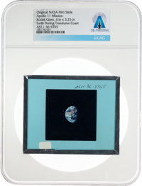 Apollo 11 Original NASA Glass Film Slide, an Image of Earth Taken During the Translunar Coast, Directly From The Armstro...