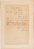 Autographs:U.S. Presidents, Abraham Lincoln: Autograph Letter Signed (ALS) Asking The Secretary Of The Navy For A Favor.. ...