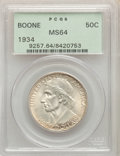 Commemorative Silver, 1934 50C Boone MS64 PCGS. PCGS Population: (514/1022). NGC Census: (320/678). CDN: $130 Whsle. Bid for problem-free NGC/PCG...