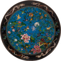 A Monumental Japanese Cloisonné Enamel Charger, Meiji Period, 19th century 6 x 48 inches (15.2 x 121.9 cm)