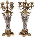 Ceramics & Porcelain, A Pair of Chinese Export Gilt Bronze-Mounted Porcelain Four-Light Candelabras. 18-1/2 x 9 x 9 inches (47.0 x 22.9 x 22.9 cm)... (Total: 2 )