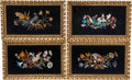 Decorative Accessories, A Set of Four Pietra Dura Plaques in Giltwood Frames. 21 x 13 x 1-1/2 inches (53.3 x 33.0 x 3.8 cm) (each, overall including... (Total: 4 )