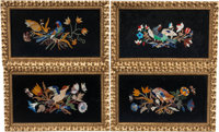 A Set of Four Pietra Dura Plaques in Giltwood Frames 21 x 13 x 1-1/2 inches (53.3 x 33.0 x 3.8 cm) (each, overall