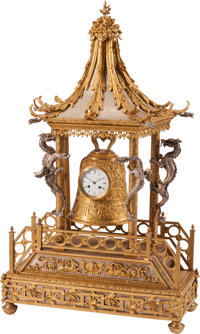 A Large Chinoiserie Gilt and Silvered Bronze Mantel Clock Marks: Despinoy & Douai 42 x 25 x 11 inches (106.7 x