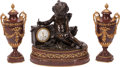Clocks & Mechanical, A French Louis XVI-Style Rouge Marble and Gilt Bronze Cloc...
