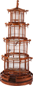 Furniture, A Large Chinese Bone and Hardwood Birdcage. 76 x 36 inches (193.0 x 91.4 cm). ...