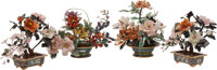 A Group of Four Chinese Hardstone and Jade Topiary Trees 12 x 11 x 11 inches (30.5 x 27.9 x 27.9 cm) (largest, eac