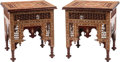 Furniture, A Pair of Moorish-Style Inlaid Hardwood Side Tables. 26-1/2 x 24-1/2 x 24-1/2 inches (67.3 x 62.2 x 62.2 cm) (each). ... (Total: 2 )
