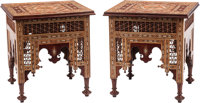 A Pair of Moorish-Style Inlaid Hardwood Side Tables 26-1/2 x 24-1/2 x 24-1/2 inches (67.3 x 62.2 x 62.2 cm) (each)