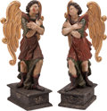 Carvings, A Pair of Italian Baroque Carved and Polychromed Wood Seraphim Angel Figures, 18th century. 26-1/2 x 24-1/2 x 24-1/2 inches ... (Total: 2 )