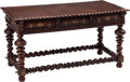 Furniture, A Portuguese Three-Drawer Hardwood Refectory Table. 32 x 60 x 31 inches (81.3 x 152.4 x 78.7 cm). ...