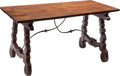 Furniture, A Spanish Baroque-Style Walnut and Wrought Iron Trestle Table. 31 x 62 x 33-1/2 inches (78.7 x 157.5 x 85.1 cm). ...