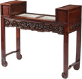 Furniture, A Chinese Carved Hardwood and Porcelain Mounted Alter Table. 41 x 48 x 17-3/4 inches (104.1 x 121.9 x 45.1 cm). ...
