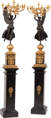 A Pair of Monumental Neoclassical-Style Partial Gilt Bronze Seven-Light Candelabra Presented on Marble Pedestals 5