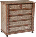 Furniture, A Moorish-Style Abalone and Bone Inlaid Harwood Chest of Drawers. 42-1/2 x 40 x 21 inches (108.0 x 101.6 x 53.3 cm). ...