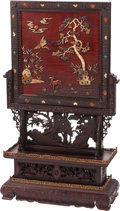 Furniture, A Chinese Lacquer and Stone Inlaid Hardwood Floor Screen. 45 x 27 x 10 inches (114.3 x 68.6 x 25.4 cm). ...