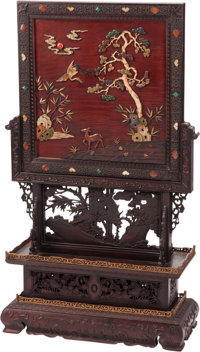 A Chinese Lacquer and Stone Inlaid Hardwood Floor Screen 45 x 27 x 10 inches (114.3 x 68.6 x 25.4 cm)