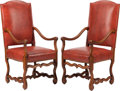 Furniture, A Pair of Louis XIV-Style Red Leather Upholstered Armchairs. 45 x 20 x 20-1/2 inches (114.3 x 50.8 x 52.1 cm) (each). ... (Total: 2 )