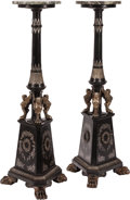 Furniture, A Pair of Neoclassical-Style Silvered and Painted Wood Marble Top Pedestals. 49 x 18-1/2 inches (124.5 x 47.0 cm) (each). ... (Total: 2 )