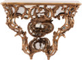 Furniture, A Rococo-Style Carved, Painted, and Giltwood Mirrored Console Table, 19th century. 36 x 43 x 16 inches (91.4 x 109.2 x 40.6 ...