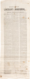 Political:Posters & Broadsides (pre-1896), Abraham Lincoln: Lincoln's First Inaugural Address Broadside Extra From Maine.. ...