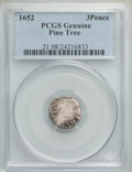 1652 3PENCE Pine Tree Threepence PCGS Genuine
