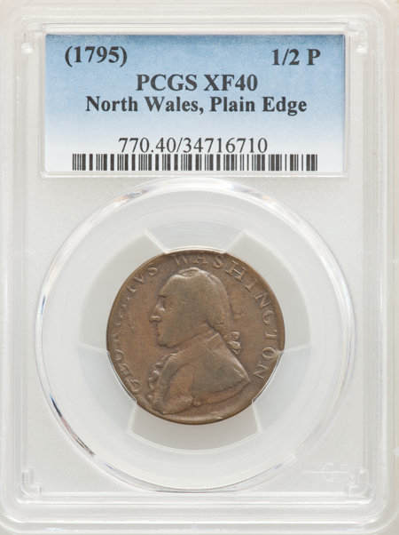 1795 Washington North Wales Halfpenny, Plain Edge, One Star at Each Side of Harp, BN 40 PCGS