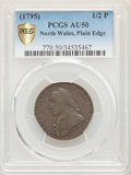 Colonials, (1795) 1/2 P Washington North Wales Halfpenny, Plain Edge, One Star at Each Side of Harp AU50 PCGS Secure. PCGS Popul...