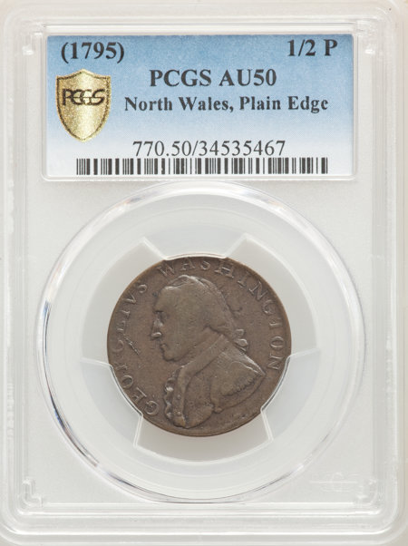 1795 Washington North Wales Halfpenny, Plain Edge, One Star at Each Side of Harp, BN PCGS Secure 50 PCGS