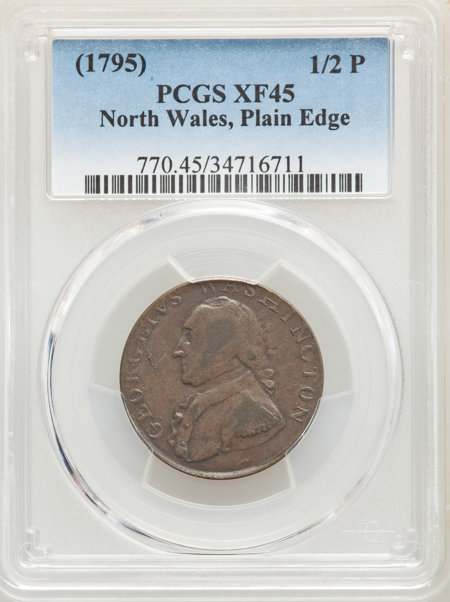 1795 Washington North Wales Halfpenny, Plain Edge, One Star at Each Side of Harp, BN 45 PCGS