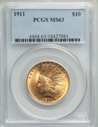 1911 $10 MS63 PCGS. PCGS Population: (2954/1298). NGC Census: (1882/1081). CDN: $822.83.Whsle. Bid for problem-free NGC/...