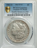 Errors, 1883-O $1 -- Double Struck in Collar, Cleaned -- PCGS Genuine. VF Details. Mintage 8,725,000....