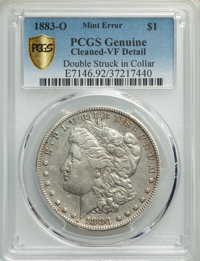 1883-O $1 -- Double Struck in Collar, Cleaned -- PCGS Genuine. VF Details. Mintage 8,725,000