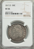 Bust Half Dollars: , 1817/3 50C VF35 NGC. NGC Census: (9/65). PCGS Population: (27/146). CDN: $900 Whsle. Bid for problem-free NGC/PCGS VF35. Mi...