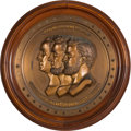 Political:3D & Other Display (pre-1896), Lincoln, Grant and Washington: Large Sculptural Roundel Plaque.. ...