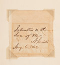 Autographs:U.S. Presidents, Abraham Lincoln: Signed endorsement Tipped Into Patent Book.. ...