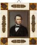 Antiques:Decorative Americana, Abraham Lincoln: An Exceptional Signed Hand-painted Miniature Portrait.. ...