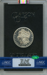 1884-CC $1 GSA MS64 Deep Mirror Prooflike NGC. CAC. NGC Census: (282/87). PCGS Population: (18/15). MS64