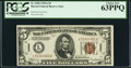 Small Size:World War II Emergency Notes, Fr. 2302 $5 1934A Hawaii Federal Reserve Note. PCGS Choice New 63PPQ.. ...
