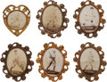 Baseball Cards:Lots, 1915 PM1 Ornate Frame Pins Collection (5) Plus Heart Shaped Pin. ...