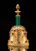 Silver Holloware, Continental, A Continental Gilt Silver, Enamel, and Gem-Mounted Table Bell, probably Hungarian, circa 1975. Marks: 925. 4-3/4 x 2-1/2...